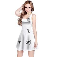 Set Of Black Web Dings On White Background Abstract Symbols Reversible Sleeveless Dress
