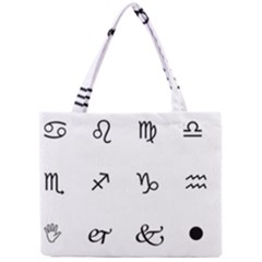 Set Of Black Web Dings On White Background Abstract Symbols Mini Tote Bag