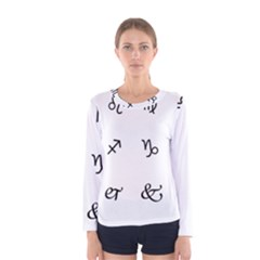 Set Of Black Web Dings On White Background Abstract Symbols Women s Long Sleeve Tee