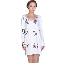 Set Of Black Web Dings On White Background Abstract Symbols Long Sleeve Nightdress