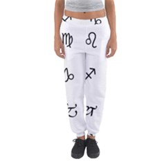 Set Of Black Web Dings On White Background Abstract Symbols Women s Jogger Sweatpants