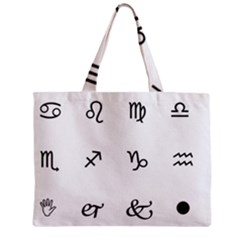 Set Of Black Web Dings On White Background Abstract Symbols Zipper Mini Tote Bag