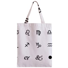 Set Of Black Web Dings On White Background Abstract Symbols Zipper Classic Tote Bag