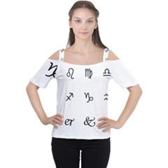 Set Of Black Web Dings On White Background Abstract Symbols Women s Cutout Shoulder Tee