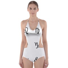 Set Of Black Web Dings On White Background Abstract Symbols Cut Out One Piece Swimsuit