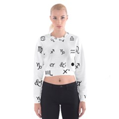 Set Of Black Web Dings On White Background Abstract Symbols Women s Cropped Sweatshirt