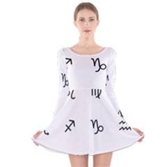 Set Of Black Web Dings On White Background Abstract Symbols Long Sleeve Velvet Skater Dress