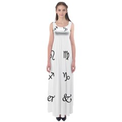 Set Of Black Web Dings On White Background Abstract Symbols Empire Waist Maxi Dress