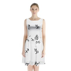 Set Of Black Web Dings On White Background Abstract Symbols Sleeveless Chiffon Waist Tie Dress