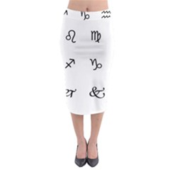 Set Of Black Web Dings On White Background Abstract Symbols Midi Pencil Skirt