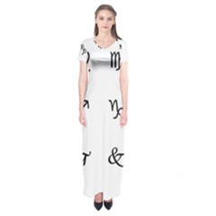 Set Of Black Web Dings On White Background Abstract Symbols Short Sleeve Maxi Dress