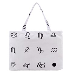 Set Of Black Web Dings On White Background Abstract Symbols Medium Zipper Tote Bag