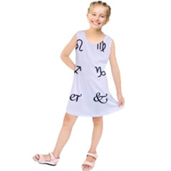 Set Of Black Web Dings On White Background Abstract Symbols Kids  Tunic Dress