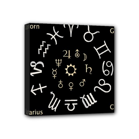 Astrology Chart With Signs And Symbols From The Zodiac Gold Colors Mini Canvas 4  x 4