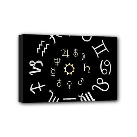 Astrology Chart With Signs And Symbols From The Zodiac Gold Colors Mini Canvas 6  X 4