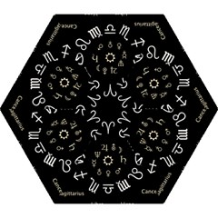 Astrology Chart With Signs And Symbols From The Zodiac Gold Colors Mini Folding Umbrellas