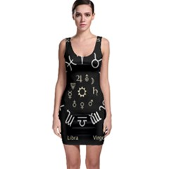 Astrology Chart With Signs And Symbols From The Zodiac Gold Colors Sleeveless Bodycon Dress