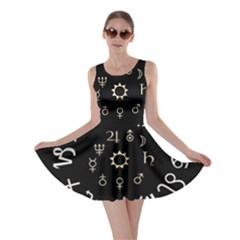 Astrology Chart With Signs And Symbols From The Zodiac Gold Colors Skater Dress
