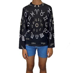 Astrology Chart With Signs And Symbols From The Zodiac Gold Colors Kids  Long Sleeve Swimwear