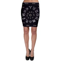 Astrology Chart With Signs And Symbols From The Zodiac Gold Colors Bodycon Skirt