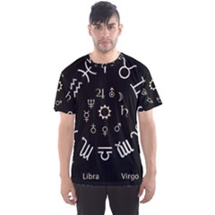 Astrology Chart With Signs And Symbols From The Zodiac Gold Colors Men s Sport Mesh Tee