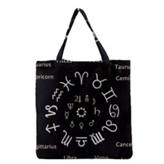 Astrology Chart With Signs And Symbols From The Zodiac Gold Colors Grocery Tote Bag