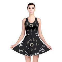 Astrology Chart With Signs And Symbols From The Zodiac Gold Colors Reversible Skater Dress