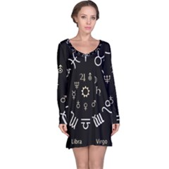 Astrology Chart With Signs And Symbols From The Zodiac Gold Colors Long Sleeve Nightdress