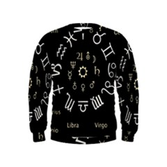 Astrology Chart With Signs And Symbols From The Zodiac Gold Colors Kids  Sweatshirt