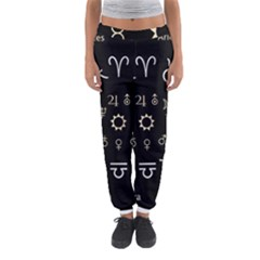 Astrology Chart With Signs And Symbols From The Zodiac Gold Colors Women s Jogger Sweatpants
