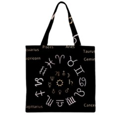 Astrology Chart With Signs And Symbols From The Zodiac Gold Colors Zipper Grocery Tote Bag