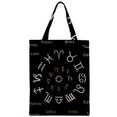 Astrology Chart With Signs And Symbols From The Zodiac Gold Colors Zipper Classic Tote Bag