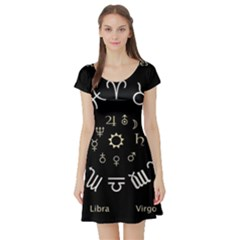 Astrology Chart With Signs And Symbols From The Zodiac Gold Colors Short Sleeve Skater Dress