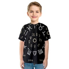 Astrology Chart With Signs And Symbols From The Zodiac Gold Colors Kids  Sport Mesh Tee
