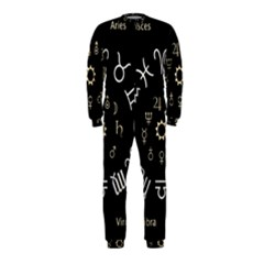 Astrology Chart With Signs And Symbols From The Zodiac Gold Colors Onepiece Jumpsuit (kids)