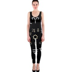 Astrology Chart With Signs And Symbols From The Zodiac Gold Colors Onepiece Catsuit