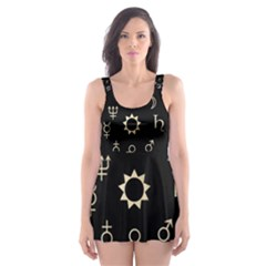 Astrology Chart With Signs And Symbols From The Zodiac Gold Colors Skater Dress Swimsuit