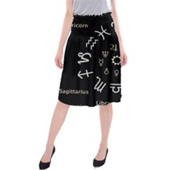 Astrology Chart With Signs And Symbols From The Zodiac Gold Colors Midi Beach Skirt
