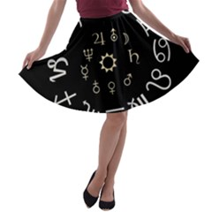 Astrology Chart With Signs And Symbols From The Zodiac Gold Colors A Line Skater Skirt