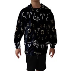 Astrology Chart With Signs And Symbols From The Zodiac Gold Colors Hooded Wind Breaker (kids)
