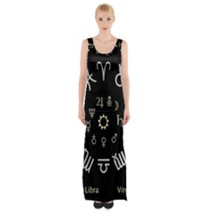 Astrology Chart With Signs And Symbols From The Zodiac Gold Colors Maxi Thigh Split Dress