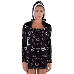 Astrology Chart With Signs And Symbols From The Zodiac Gold Colors Women s Long Sleeve Hooded T Shirt