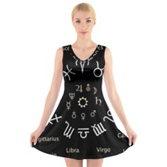 Astrology Chart With Signs And Symbols From The Zodiac Gold Colors V Neck Sleeveless Skater Dress