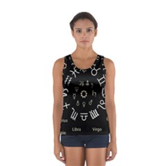 Astrology Chart With Signs And Symbols From The Zodiac Gold Colors Women s Sport Tank Top
