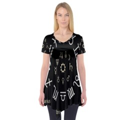 Astrology Chart With Signs And Symbols From The Zodiac Gold Colors Short Sleeve Tunic