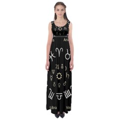 Astrology Chart With Signs And Symbols From The Zodiac Gold Colors Empire Waist Maxi Dress
