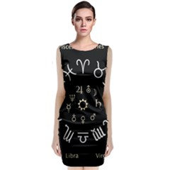 Astrology Chart With Signs And Symbols From The Zodiac Gold Colors Classic Sleeveless Midi Dress