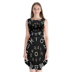 Astrology Chart With Signs And Symbols From The Zodiac Gold Colors Sleeveless Chiffon Dress