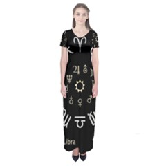 Astrology Chart With Signs And Symbols From The Zodiac Gold Colors Short Sleeve Maxi Dress