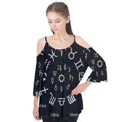 Astrology Chart With Signs And Symbols From The Zodiac Gold Colors Flutter Tees